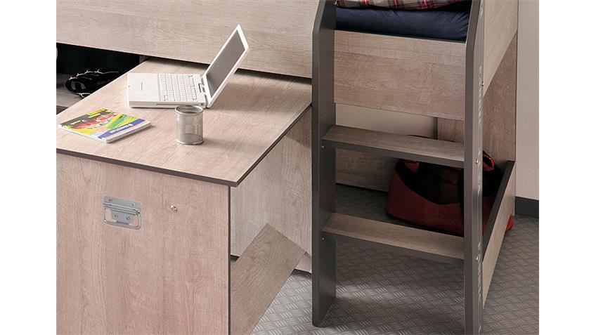 Hochbett FABRIC mit Schreibtisch in Esche Grau 90x200 cm