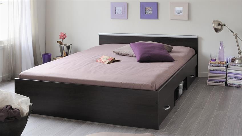 Bett MEGA Schlafzimmerbett Kaffee braun Schubkasten 140x200