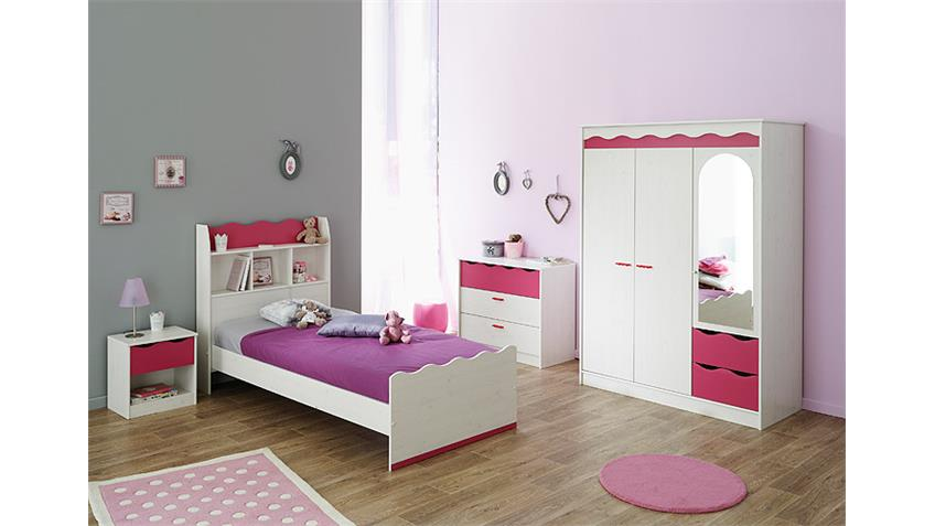 Bett mir Regal LILOU in Kiefer weiß und Pink 90x200