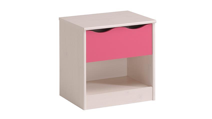 Nachtkommode LILOU in Kiefer weiß und Pink