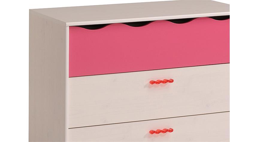 Kommode LILOU Sideboard Kiefer weiß und pink Kinderzimmer
