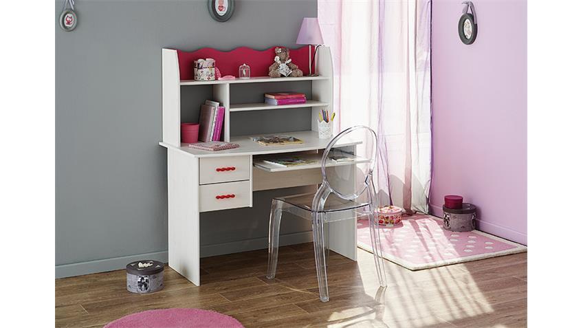 Schreibtisch LILOU in Kiefer weiß und Pink