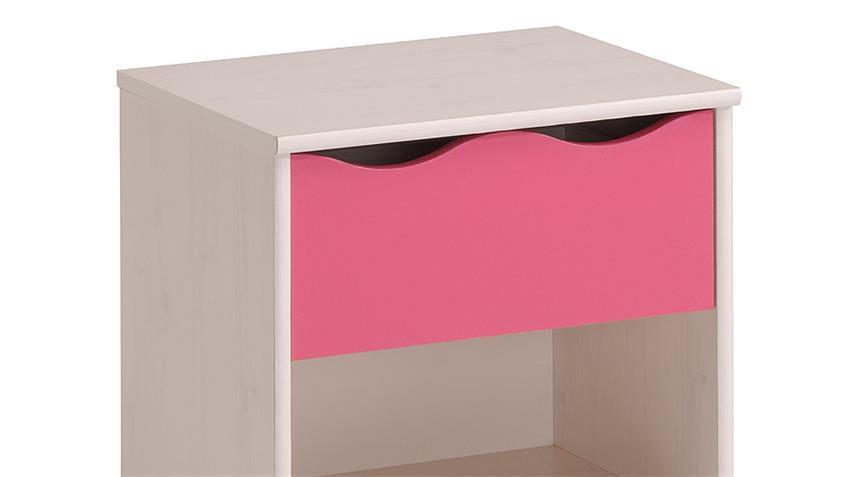 Kinderzimmer LILOU in Kiefer weiß und Pink