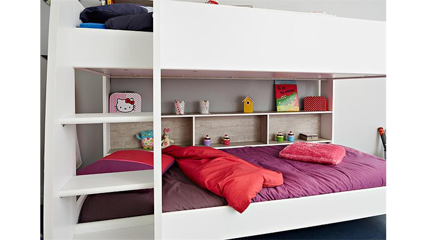 Etagenbett TAYLOR Hochbett Kinderbett in weiß und grau Loft