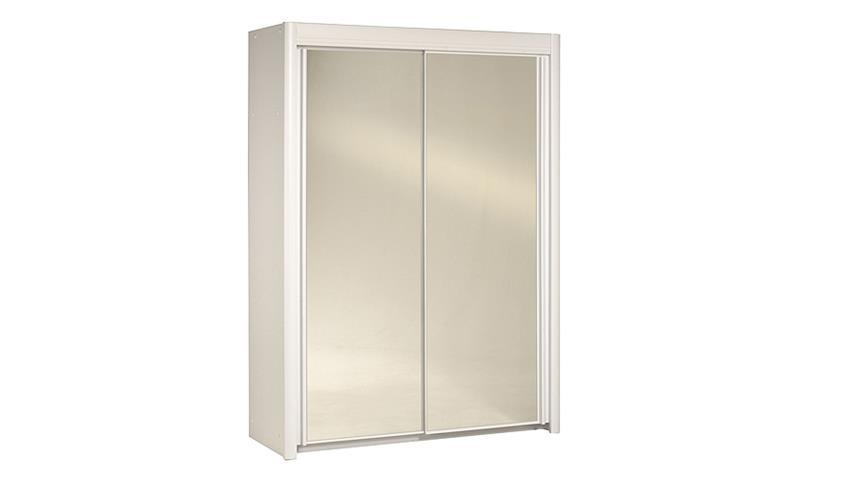 Schwebetürenschrank CARLAS in weiß mit Spiegel 156