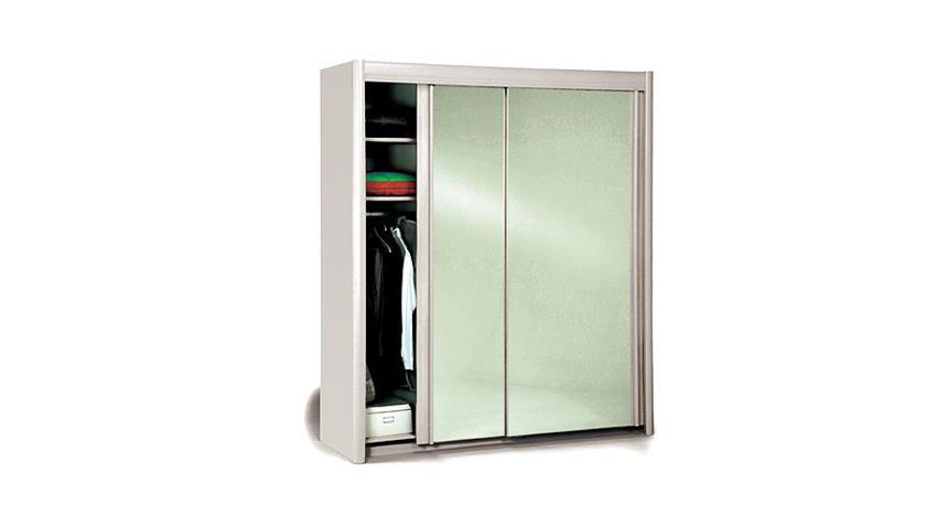 Schwebetürenschrank CARLAS in weiß mit Spiegel 203