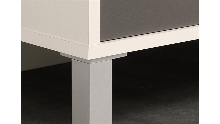 Küchenbuffet OPTIBOX Küchenschrank in weiß und grau Dekor
