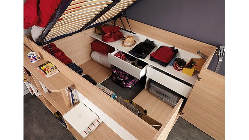 hochbett space up in baltimore eiche mit hydraulik 140x200. Black Bedroom Furniture Sets. Home Design Ideas
