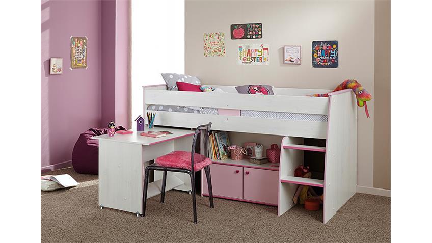 Hochbett ZOE in Kiefer weiß und pink mit Schreibtisch