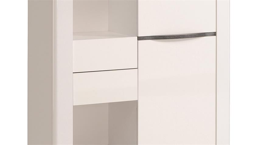 Highboard CERAM Vitrine Schrank in weiß hochglanz Dekor