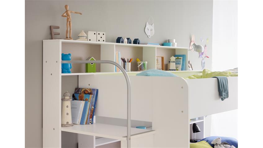 Etagenbett BIBOP in weiß Dekor mit Regalen und Stauraum