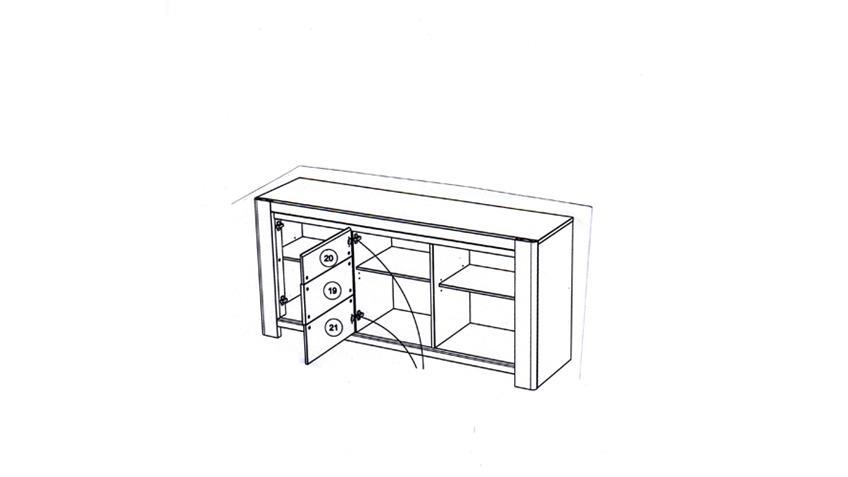 Sideboard CHRIS 13 Eiche und Steinoptik drei Türen 2 Fächer