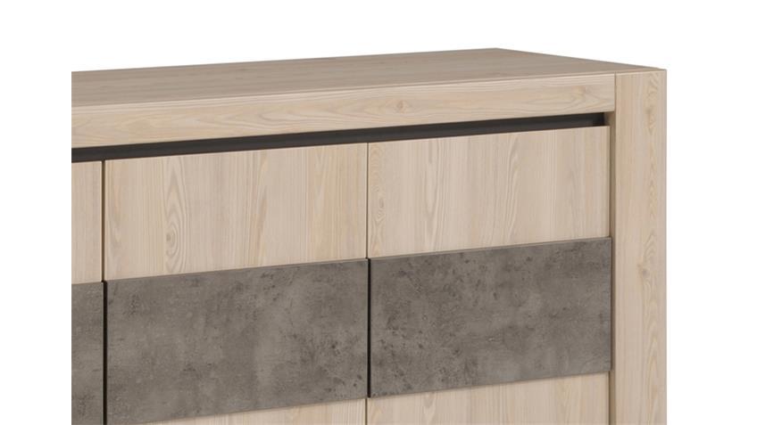 Sideboard CHRIS 14 Eiche und Steinoptik vier Türen 6 Fächer