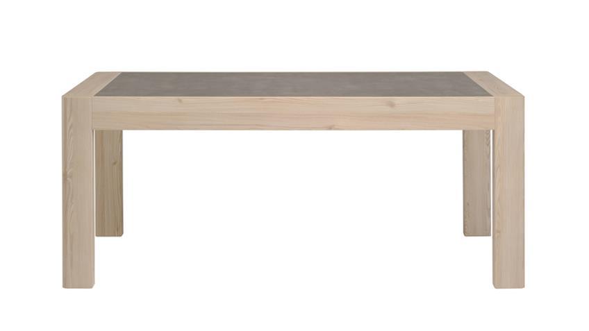 Esstisch CHRIS 16 Eiche eingelassene Tischplatte Steinoptik