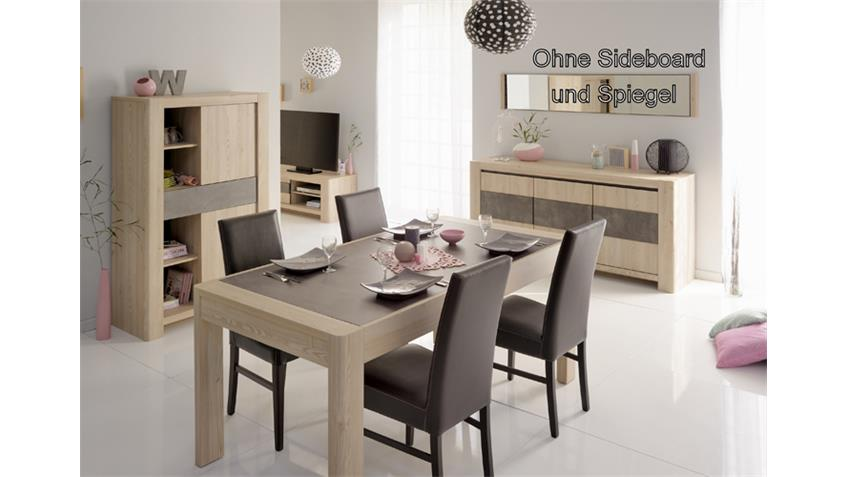 Esszimmer 6-teiliges Set CHRIS 5 Eiche Steinoptik