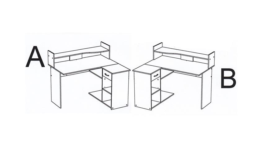 Schreibtisch MOVING 2 Eiche Curtis mit Monitorbrücke