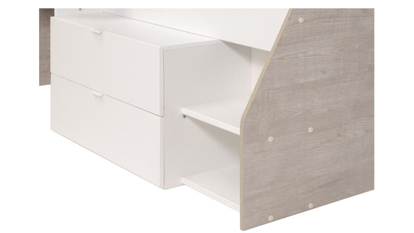 Hochbett MILKY mit integrierter Kommode in Weiß und Grey Loft