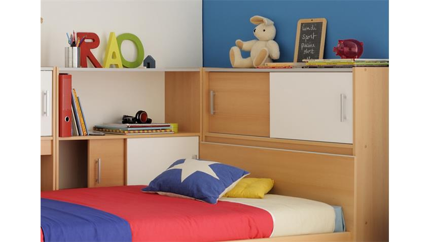Stauraumbett SNOOP Bett in Samerbergbuche 90x200