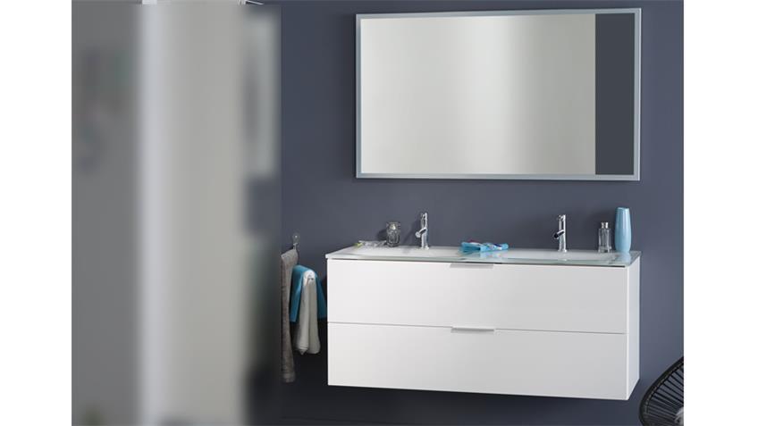 Badezimmerunterschrank LUXY 4 weiß Hochglanz mit Spiegel