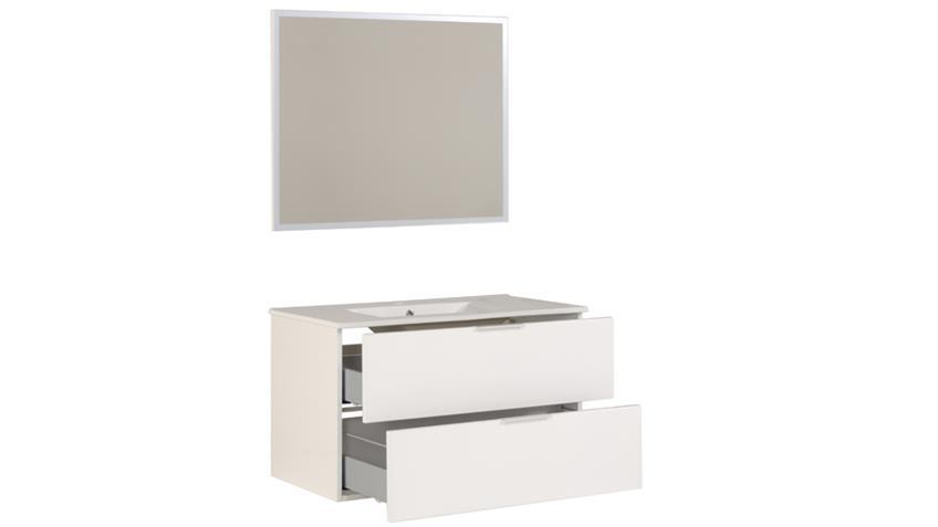 Badezimmerunterschrank LUXY 2 weiß Hochglanz mit Spiegel