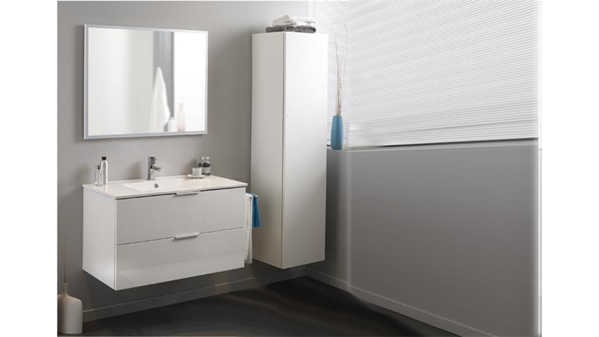 Badmöbel-Set LUXY 1 weiß Hochglanz Waschbecken und Spiegel