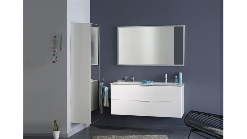 Badmöbel-Set LUXY 3 weiß Hochglanz 2 Waschbecken Badschrank