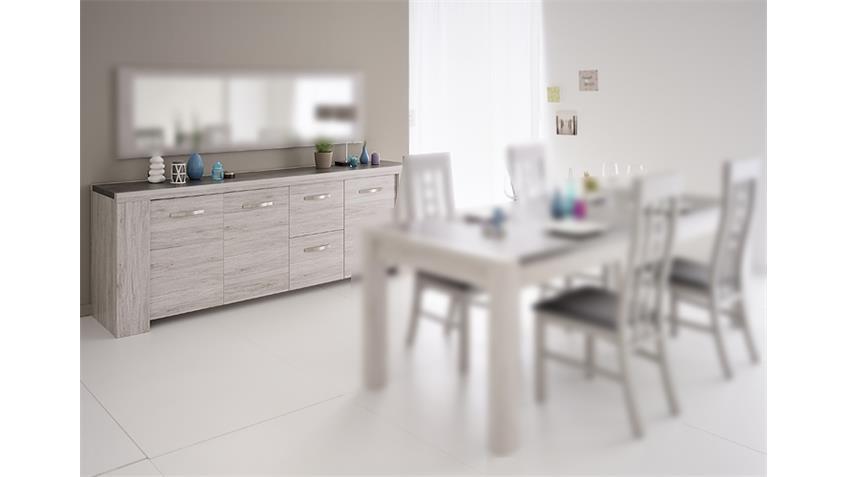 sideboard malone 21 kommode anrichte eiche steinoptik grau. Black Bedroom Furniture Sets. Home Design Ideas