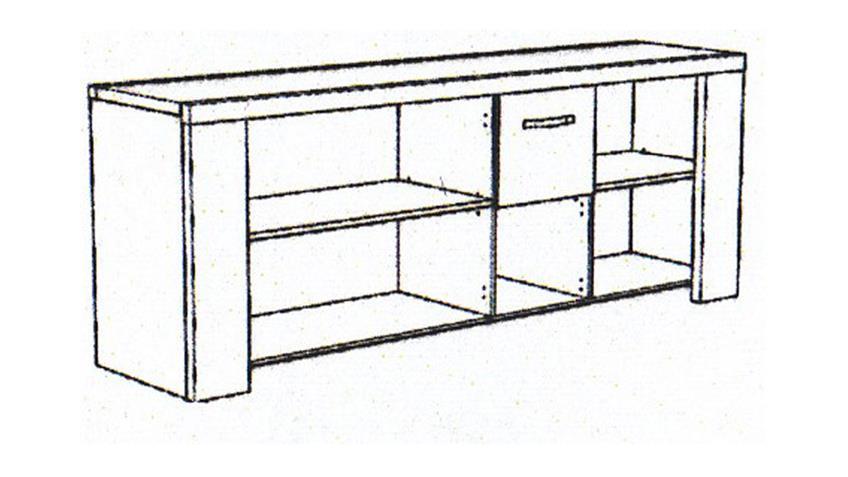 Sideboard MALONE 21 Kommode Anrichte Eiche Steinoptik grau