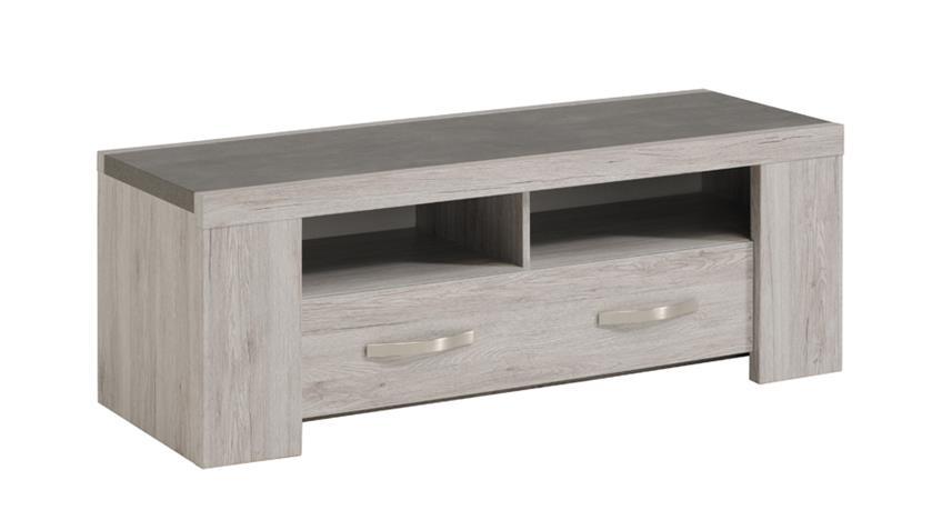 Lowboard MALONE 24 für Wohnzimmer in Eiche Steinoptik grau