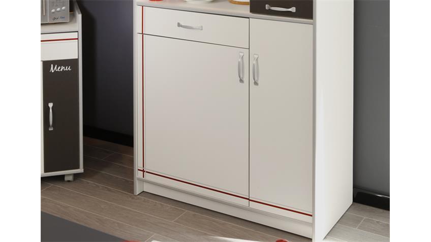 Küchenschrank BISTROT 1 Mehrzweckschrank weiß mit Absetzungen