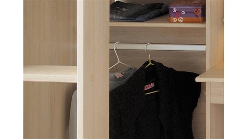 Hochbett CHARLY 3 Akazie Schreibtisch Kleiderstange Leiter