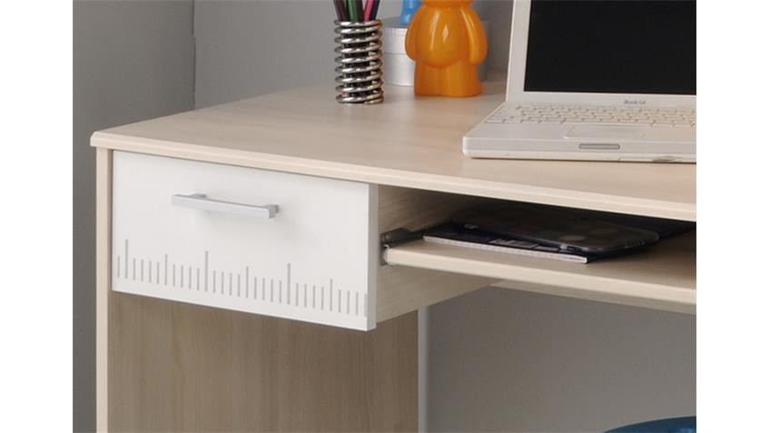 Schreibtisch CHARLY 22 PC Tisch Bürotisch in Akazie weiß