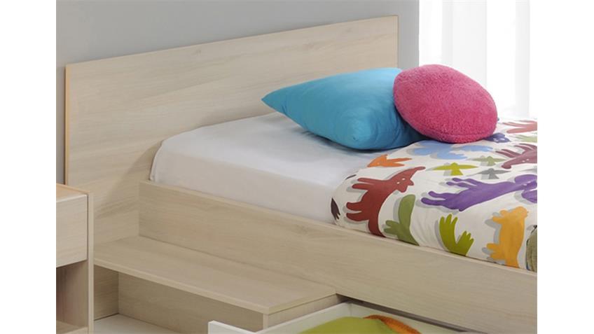 Bett CHARLY Kinderbett Stauraumbett Akazie und weiß 90x200