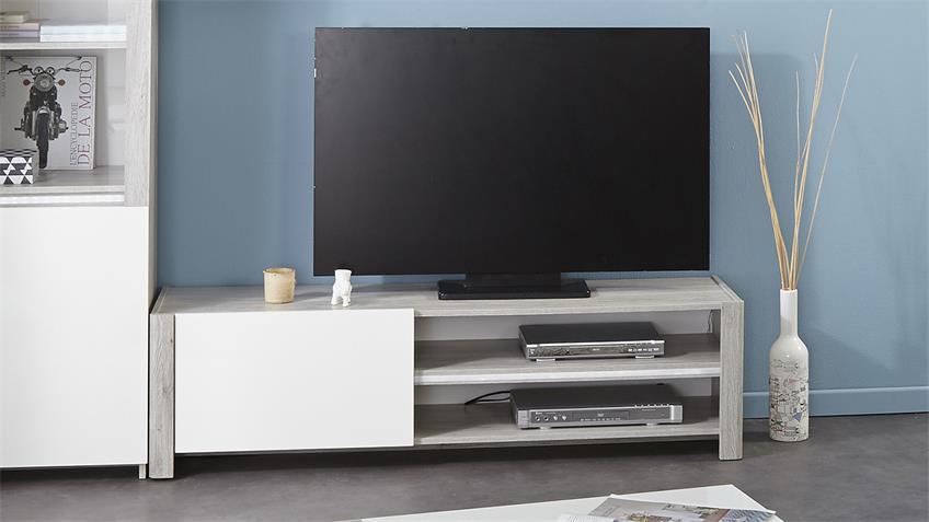 TV-Board LUNEO Lowboard in Portofino grau weiß Hochglanz