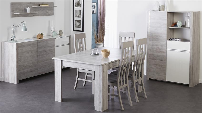 Stuhl 4er Set LUNEO Stühle in Buche massiv grau gebeizt