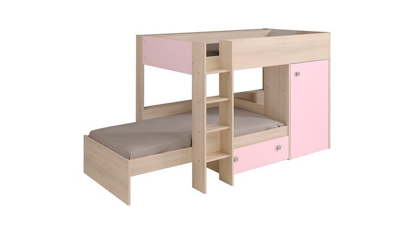 Etagenbett NINETY Hochbett Kinderbett in Akazie und rosa