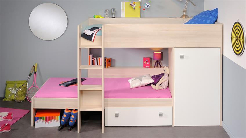 Etagenbett NINETY Hochbett Kinderbett in Akazie und weiß