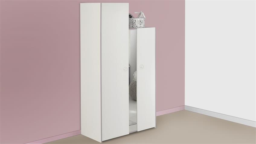 Kleiderschrank MILAS Schrank in weiß und lila mit Spiegel