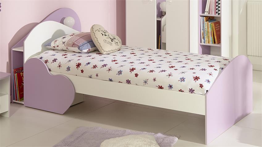 Bett MILAS Kinderbett in weiß lila mit Regal und Schubkasten