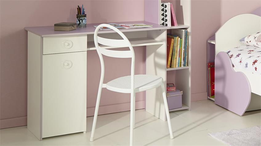 Schreibtisch MILAS Computertisch PC-Tisch in weiß und lila