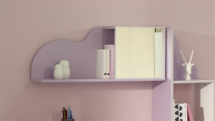 Wandboard MILAS Regal Wandregal in weiß und lila mit Spiegel