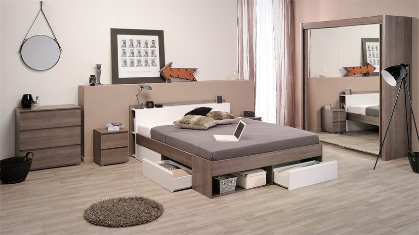 Bett MOSTA Stauraumbett Schlafzimmerbett Eiche Silber weiß