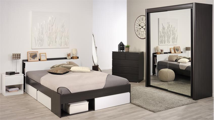 Bett MOST Jugendbett Einzelliege mit Schubkästen Kaffee braun weiß 140
