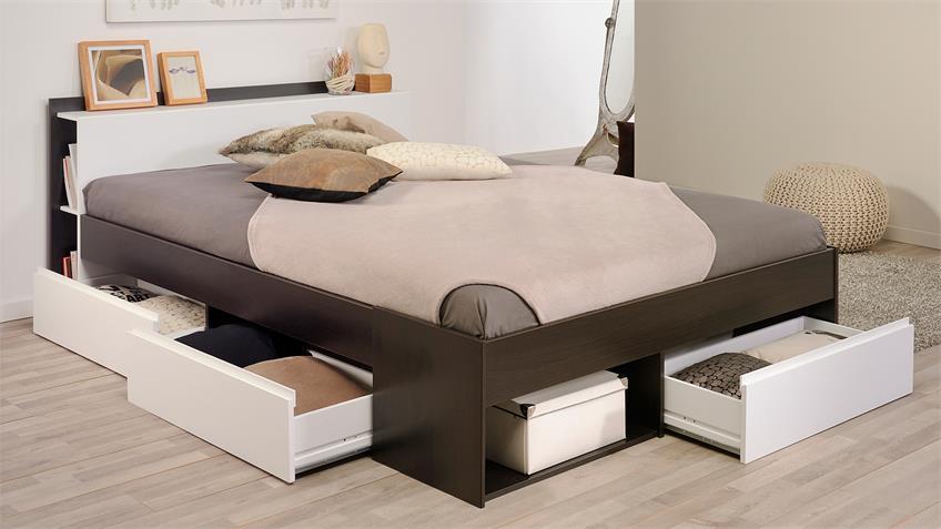 Bett MOSTA Stauraumbett Schlafzimmerbett Kaffee braun weiß