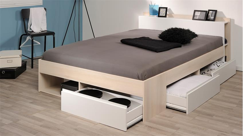 Bett MOST Jugendbett Einzelliege Schubkästen Akazie weiß 140