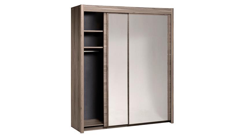 Schwebetürenschrank CARLAS in Eiche Silber mit Spiegel 181