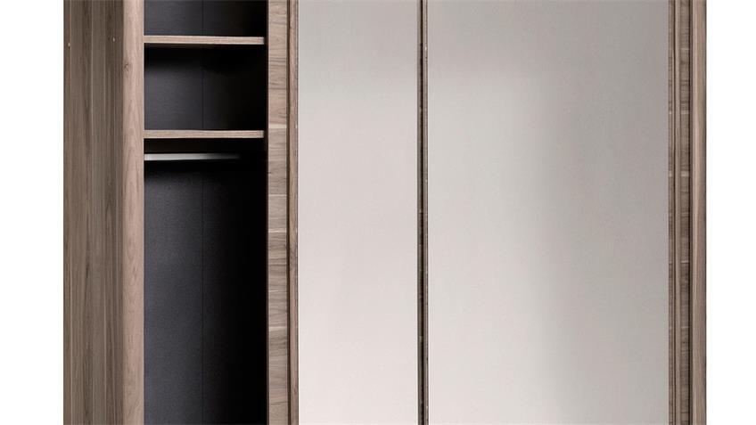 Schwebetürenschrank CARLAS in Eiche Silber mit Spiegel 203