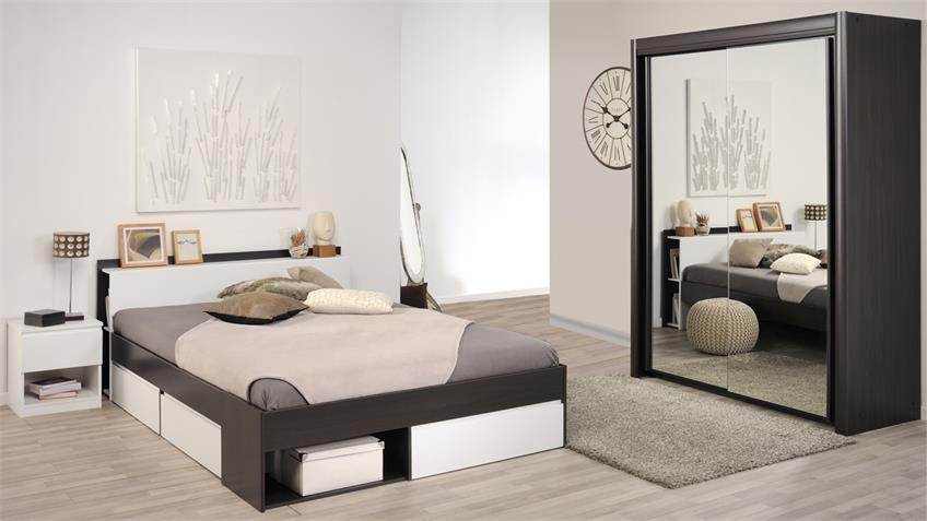 Schlafzimmer Mosta Carlas Neo Set in Kaffee weiß Spiegel