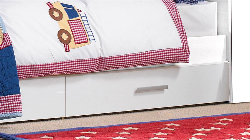 Stauraumbett SNOOP Bett Kinderbett in weiß 90x200 cm
