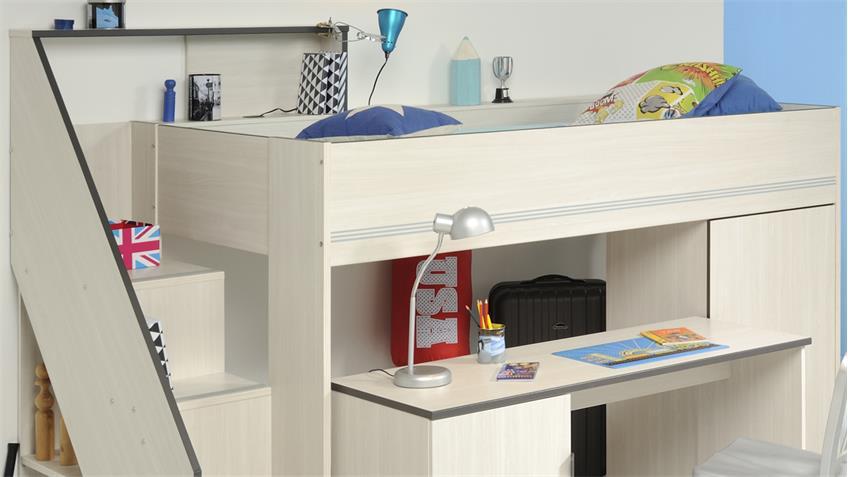 Hochbett GRAVITY 1 Esche Struktur mit Schreibtisch